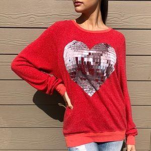 Wildfox Disco Ball Heart Sweatshirt Size Small